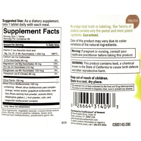 Foodscience Of Vermont Unique-c 1000 - 90 Vegetarian Tablets