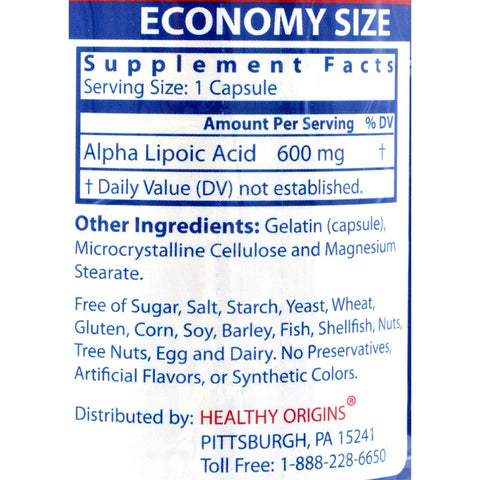 Healthy Origins Alpha Lipoic Acid - 600 Mg - 150 Capsules