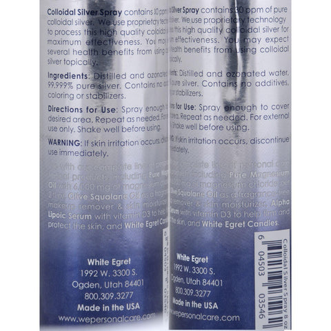 White Egret Colloidal Silver Spray 30 Ppm - 8 Oz
