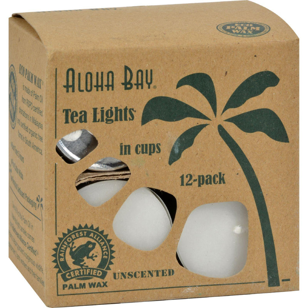 Aloha Bay Palm Wax Tea Lights With Aluminum Holder - 12 Candles