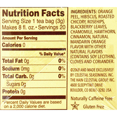 Celestial Seasonings Herbal Tea Caffeine Free Mandarin Orange Spice - 20 Tea Bags - Case Of 6