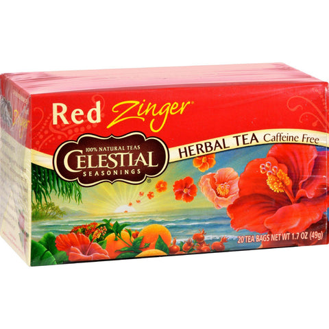 Celestial Seasonings Herbal Tea Caffeine Free Red Zinger - 20 Tea Bags - Case Of 6