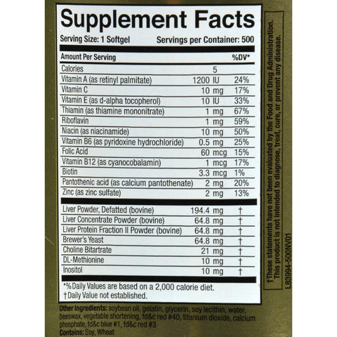 Naturally Vitamins Marlyn Hep-forte - 500 Softgels