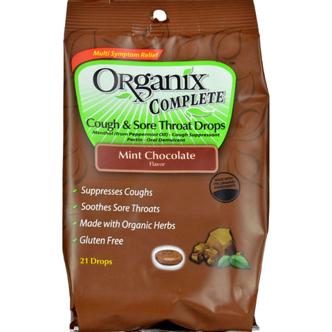 Organix Throat Drop - Dark Chocolate Mint - Case Of 4 - 21 Pack
