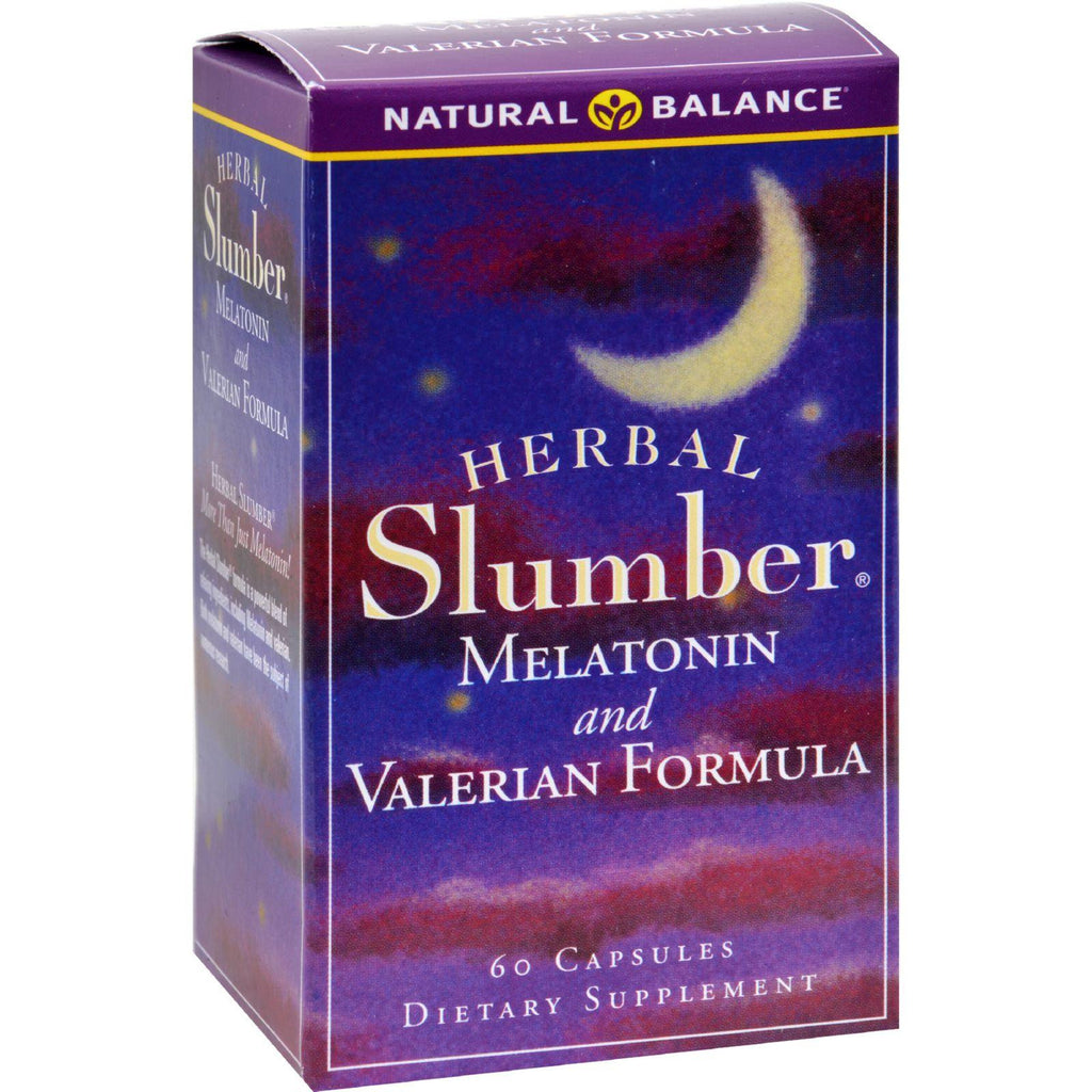 Natural Balance Herbal Slumber Melatonin And Valerian Formula - 60 Capsules