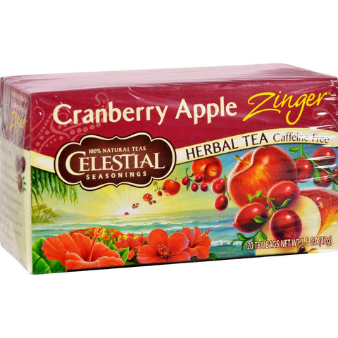 Celestial Seasonings Herbal Tea - Cranberry Apple Zinger - Caffeine Free - 20 Bags