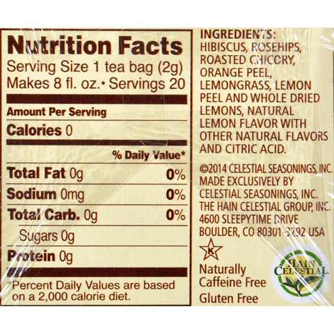 Celestial Seasonings Herbal Tea - Lemon Zinger - 20 Bags