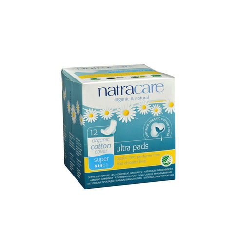 Natracare Natural Ultra Pads W-wings Super W-organic Cotton Cover  - 12 Pack