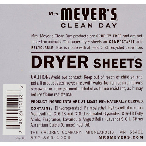 Mrs. Meyer's Dryer Sheets - Lavender - Case Of 12 - 80 Sheets