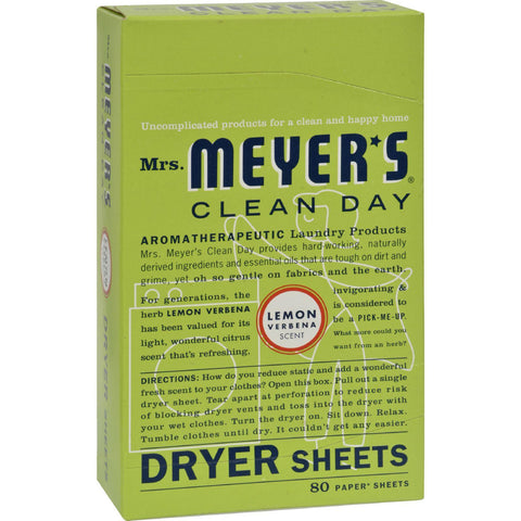 Mrs. Meyer's Dryer Sheets - Lemon Verbena - Case Of 12 - 80 Sheets