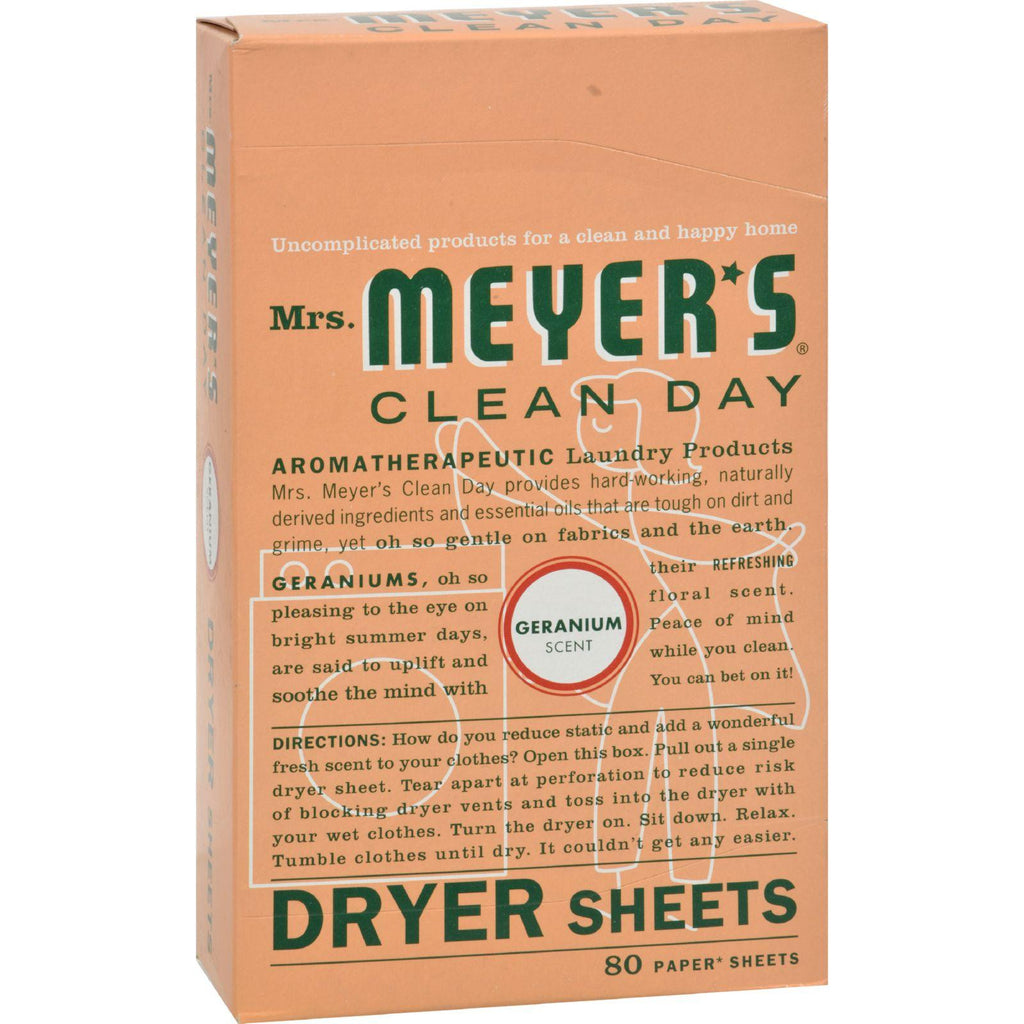 Mrs. Meyer's Dryer Sheets - Geranium - Case Of 12 - 80 Sheets