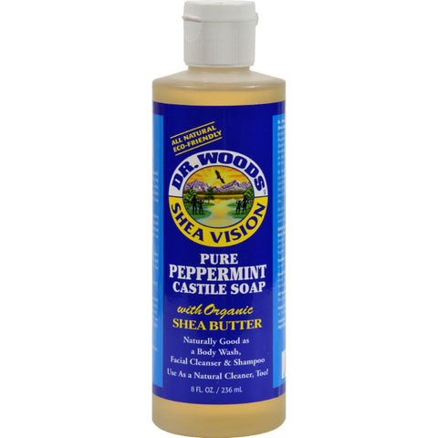 Dr. Woods Shea Vision Pure Castile Soap Peppemint With Organic Shea Butter - 8 Fl Oz