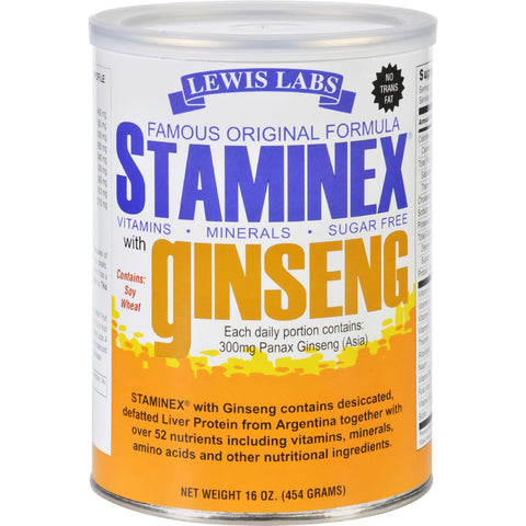 Lewis Lab Staminex - Famous Original Formula - With Ginseng - 16 Oz