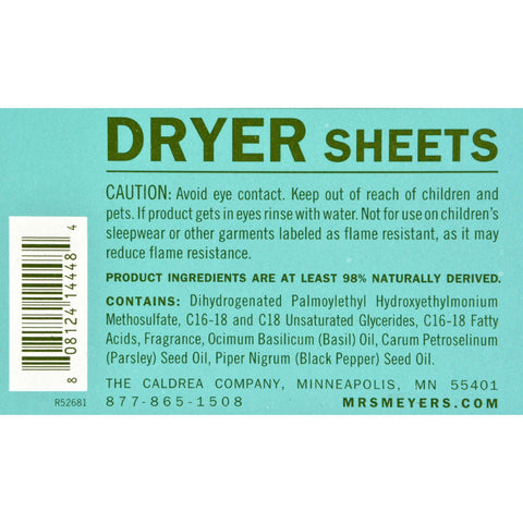 Mrs. Meyer's Dryer Sheets - Basil - Case Of 12 - 80 Sheets