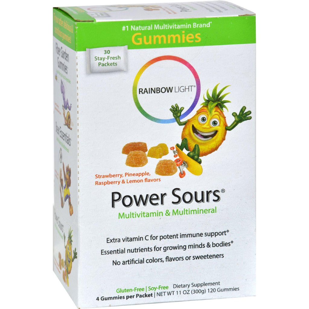Rainbow Light Gummy Power Sours Multivitamin And Multimineral Sour Fruit - 30 Single Serve Packets