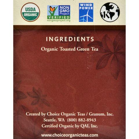 Choice Organic Teas Ban-cha Toasted Green Tea - 16 Tea Bags - Case Of 6