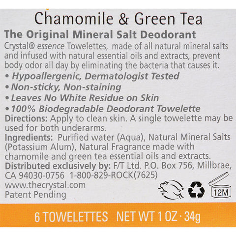 Crystal Essence Mineral Deodorant Towelettes Chamomile And Green Tea - 6 Towelettes
