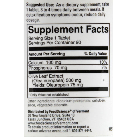 Foodscience Of Vermont Olivir 15 - 500 Mg - 90 Tablets