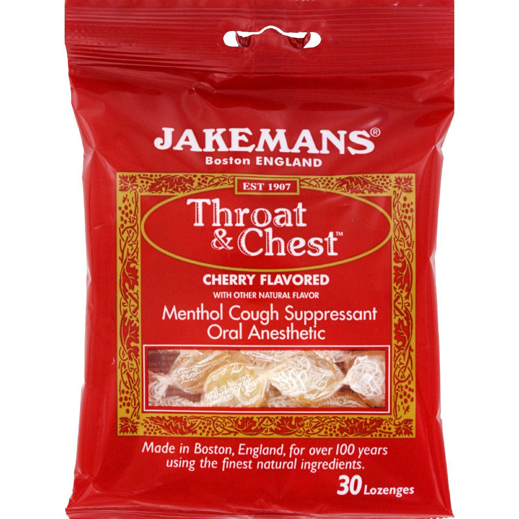 Jakemans Throat And Chest Lozenges - Cherry - Case Of 12 - 30 Pack