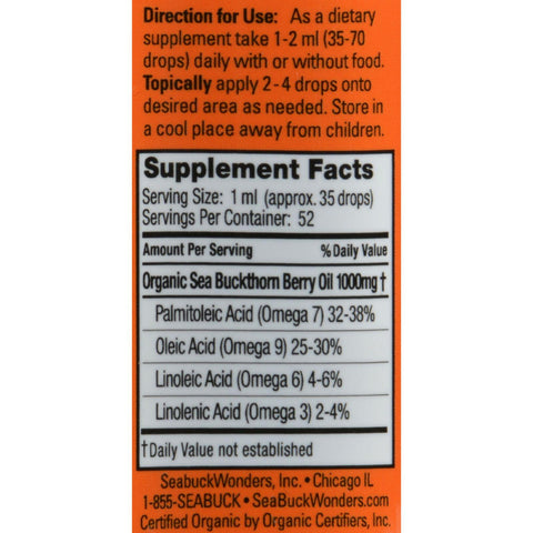 Seabuck Wonders Organic Himalayan Sea Buckthorn Berry Oil - 1.76 Fl Oz