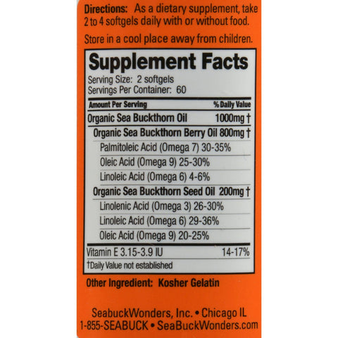 Seabuck Wonders Sea Buckthorn Oil Blend - 500 Mg - 120 Softgels