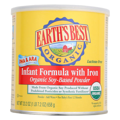 Earth's Best Organic Soy Infant Formula With Iron - Case Of 4 - 23.2 Oz.