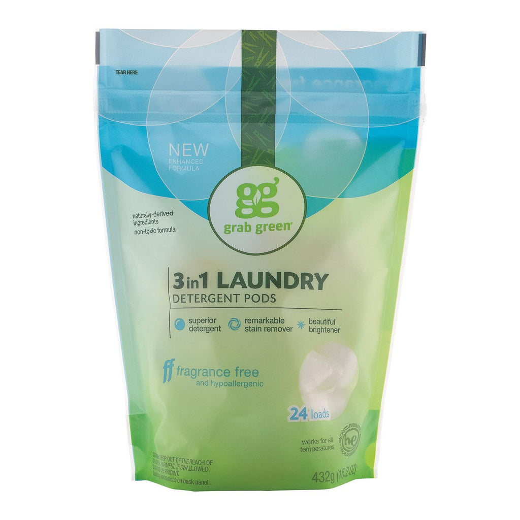Grab Green Laundry Detergent - Fragrance Free - Case Of 6 - 24 Count