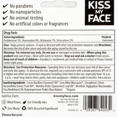 Kiss My Face Lip Balm Sport - Spf 30 - Case Of 12 - .15 Oz