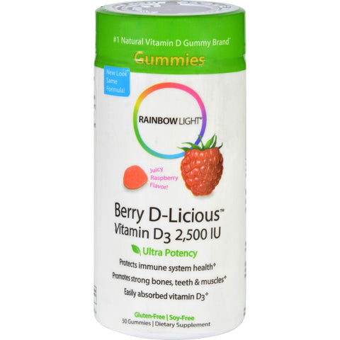 Rainbow Light Berry-d-licious Vitamin D3 Ripe Raspberry - 2500 Iu - 50 Gummies