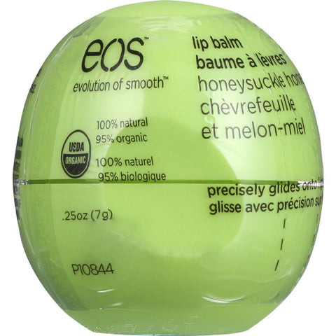 Eos Products Lip Balm - Organic - Smooth Sphere - Honeysuckle Honeydew - .25 Oz - Case Of 8