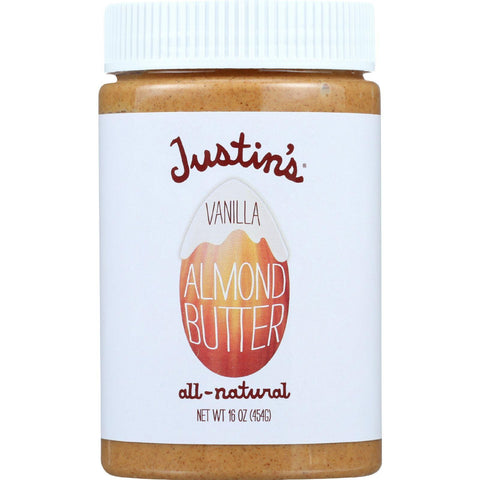 Justins Nut Butter Almond Butter - Natural Vanilla - Jar - 16 Oz - Case Of 6