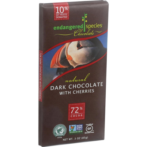 Endangered Species Natural Chocolate Bars - Dark Chocolate - 72 Percent Cocoa - Cherries - 3 Oz Bars - Case Of 12