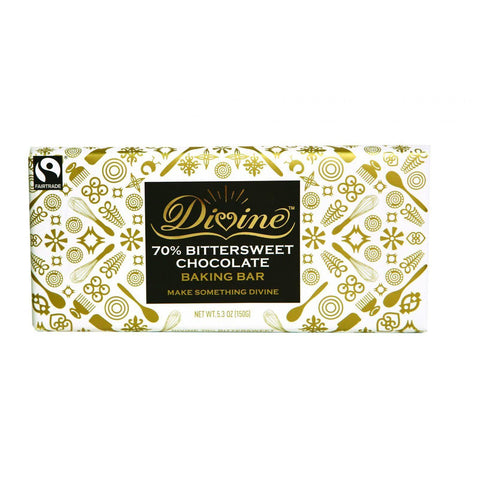 Divine Baking Bar - 70 Percent Bittersweet Chocolate - 5.3 Oz Bar - Case Of 12