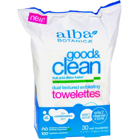 Alba Botanica Good And Clean Exfoliating Towelettes - 30 Count