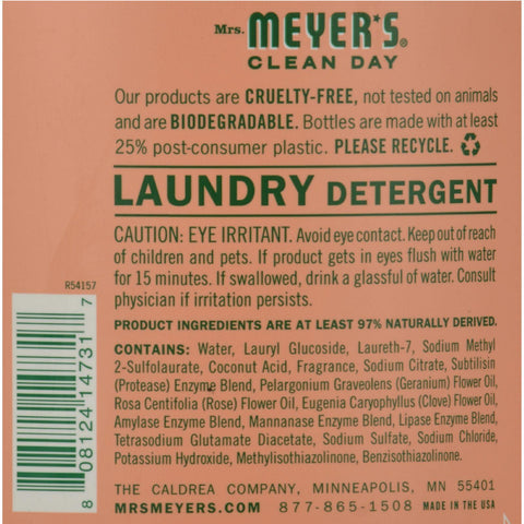 Mrs. Meyer's 2x Laundry Detergent - Geranium - 64 Oz