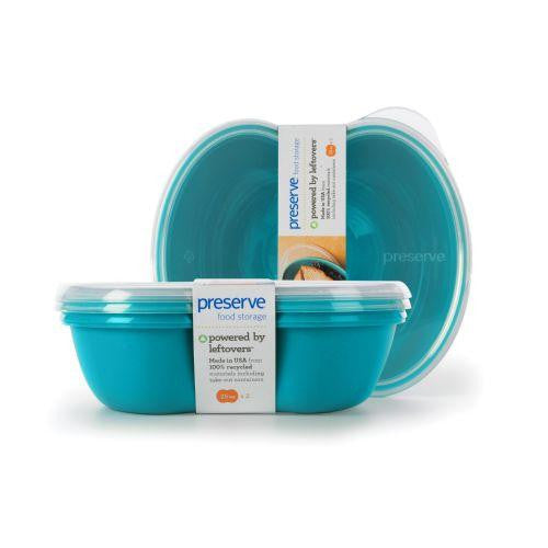 Preserve Small Square Food Storage Container - Aqua - 2 Pack