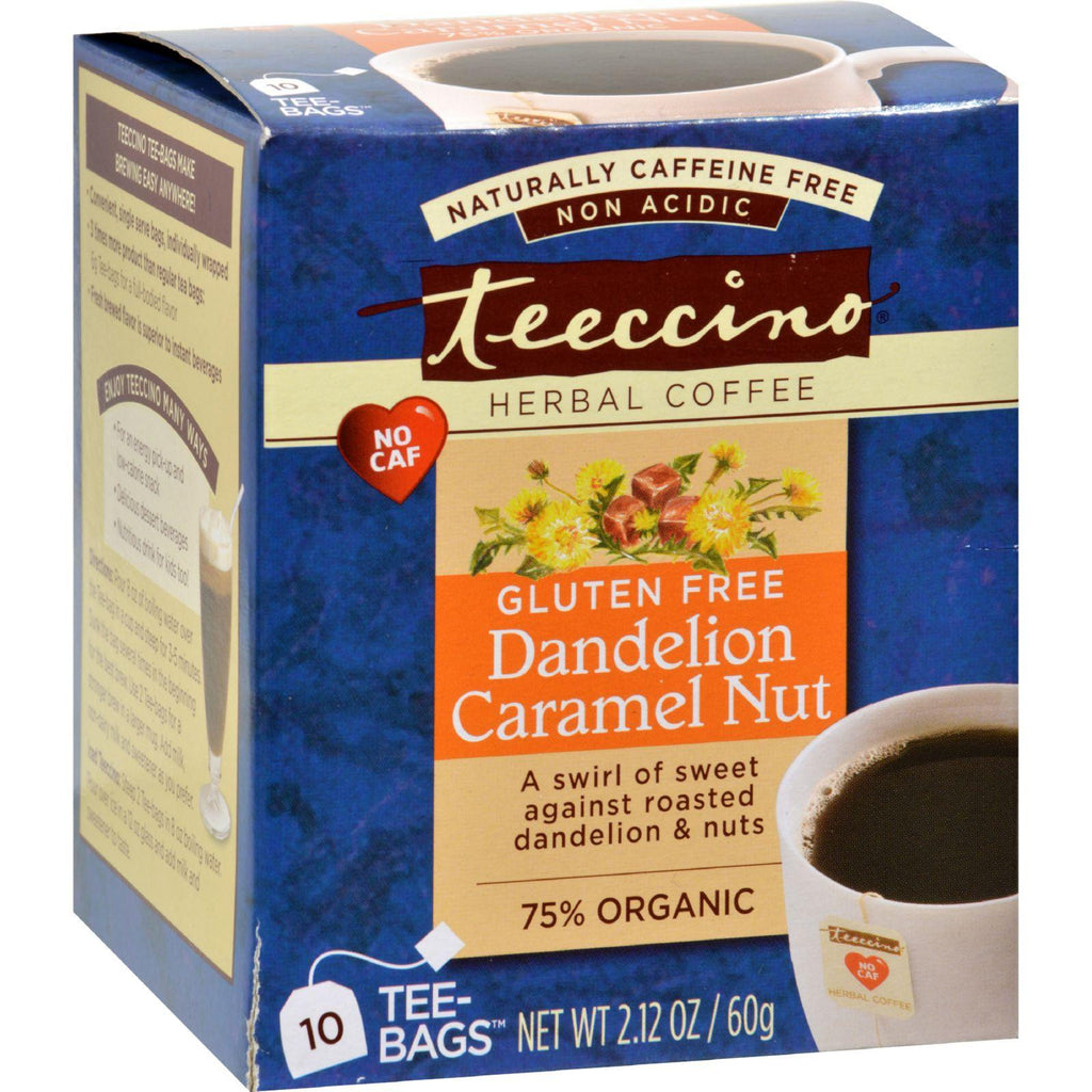 Teeccino Organic Herbal Coffee - Dandelion Caramel Nut - 10 Bags - Case Of 6