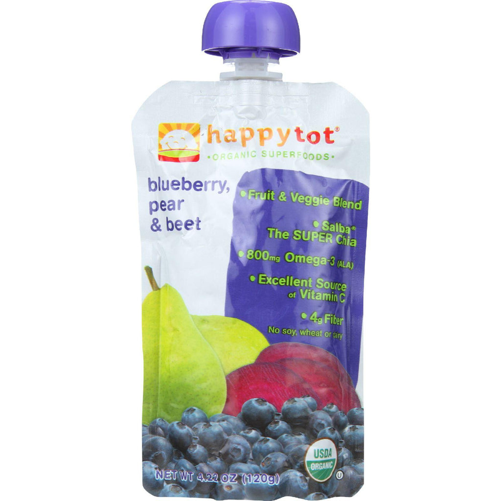 Happy Tot Toddler Food - Organic - Stage 4 - Blueberry Pear And Beet - 4.22 Oz - Case Of 16