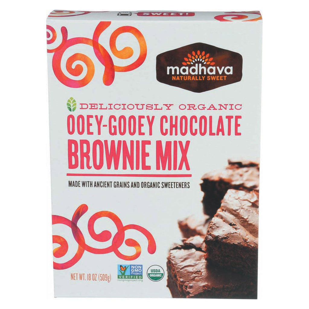 Madhava Honey Organic Ooey - Gooey Chocolate Brownie Mix With Ancient Grains - Case Of 6 - 17.5 Oz.