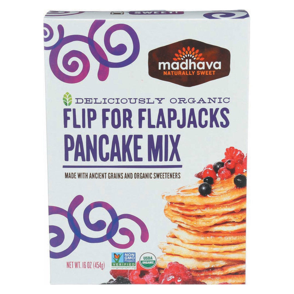 Madhava Honey Organic Pancake Mix With Ancient Grains - Flip For Flapjacks - Case Of 6 - 16 Oz.