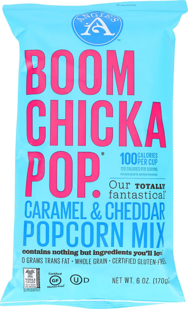 Angie's Kettle Corn Boom Chicka Pop Caramel And Cheddar Popcorn Mix - Case Of 12 - 6 Oz.