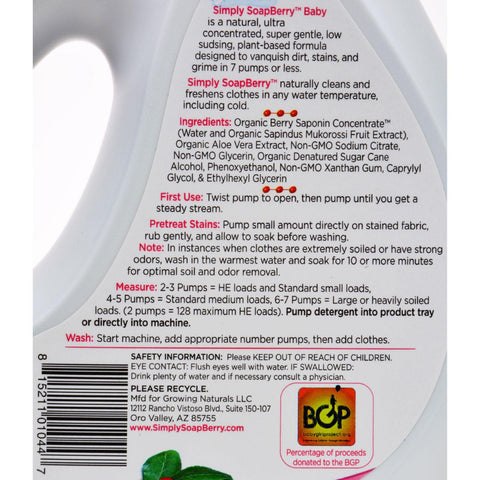 Simply Soapberry Laundry Detergent - Baby Free And Clear - 32 Oz
