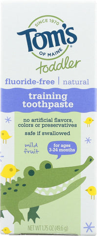 Tom's Of Maine Toothpaste - Toddler Training - Natural - Fluoride Free - Mild Fruit - 1.75 Oz - Case Of 6