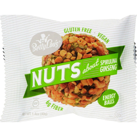 Betty Lou's Nut Butter Balls - Spirulina Ginseng - 1.4 Oz - 40 Ct
