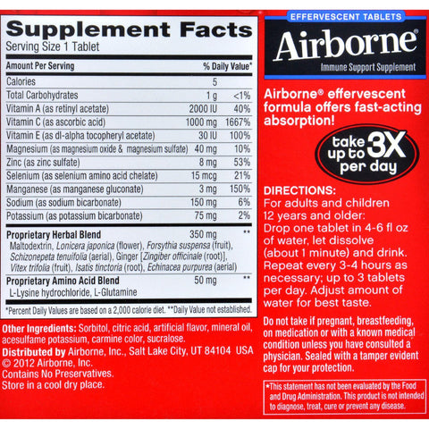 Airborne Effervescent Tablets With Vitamin C - Very Berry - 10 Tablets