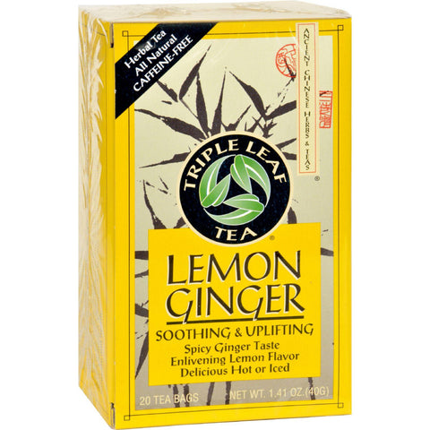 Triple Leaf Tea - Lemon Ginger - 20 Tea Bags - 1 Case