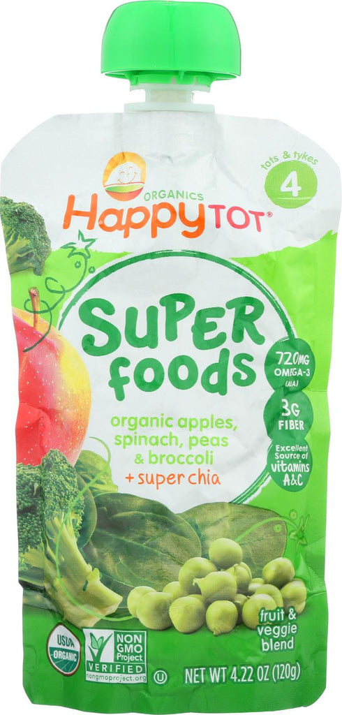 Happy Tot Happy Baby Organic Creamies - Apple, Spinach, Pea And Kiwi - Case Of 16 - 4.22 Oz.