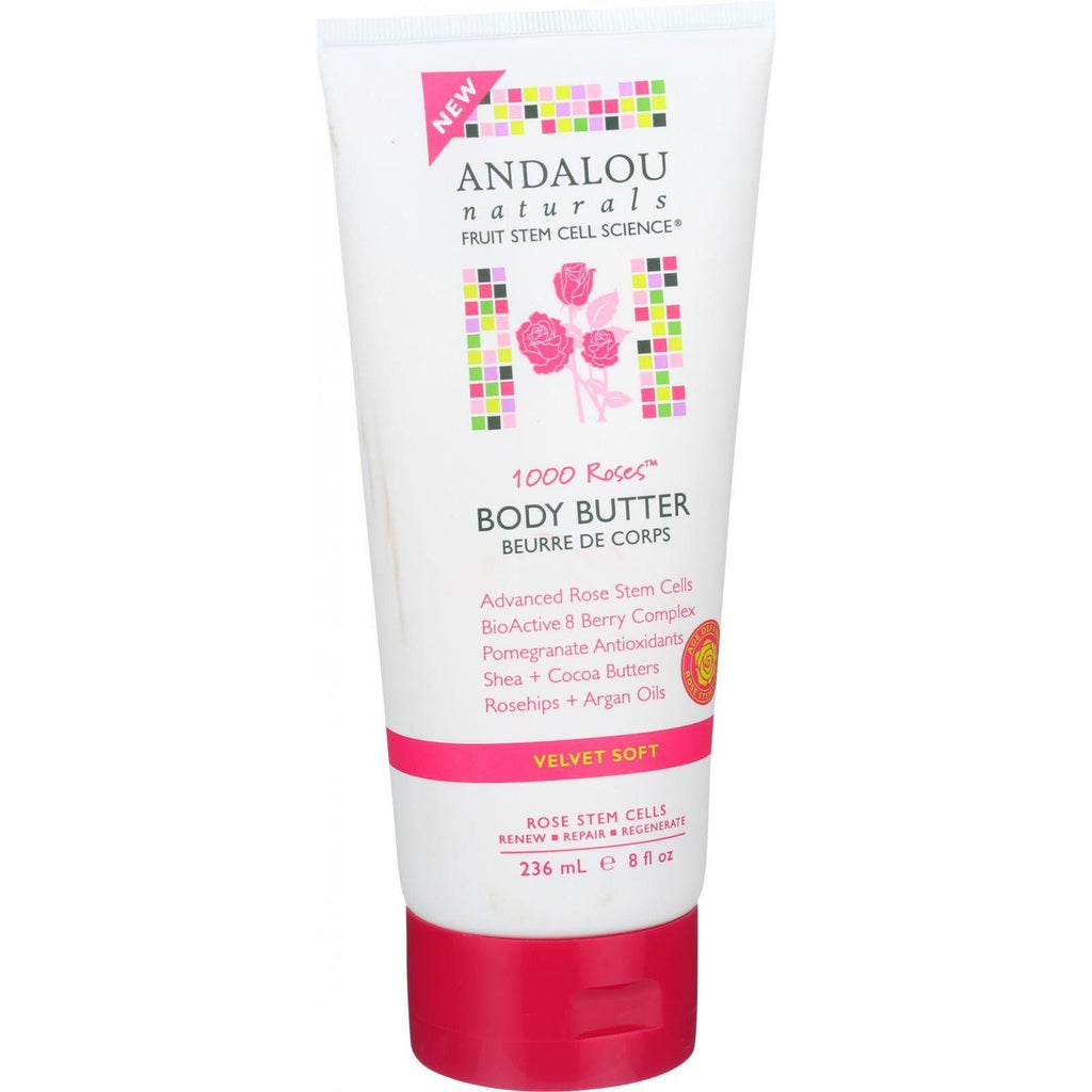 Andalou Naturals Body Butter - 1000 Roses - 8 Oz