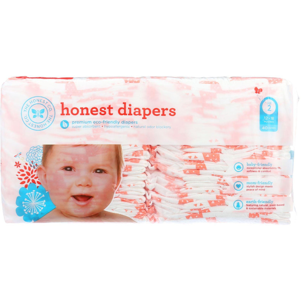 The Honest Company Diapers - Giraffes - Size 2 - Babies 12 To 18 Lbs - 40 Count - 1 Each