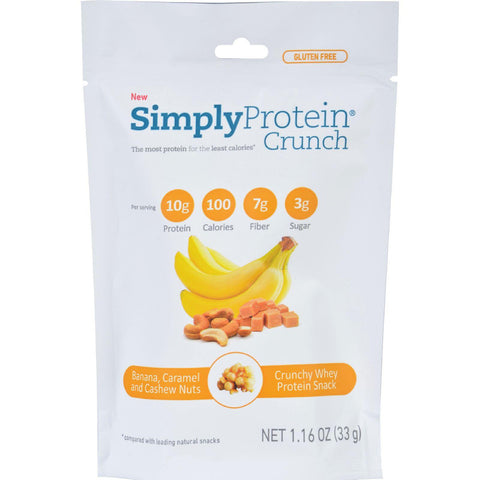 Simplyprotein Crunch - Banana Caramel Cashew Nut - 1.16 Oz - Pack Of 12